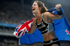 Eliza Mccartney celebrates winning bronze in the Women's Pole Vault Final. Photo / Getty Images