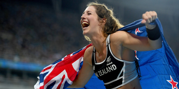 Eliza Mccartney celebrates winning bronze in the Women's Pole Vault Final. Photo / Getty Images