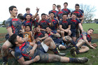 Hastings Boys' High School's 1st XV rugby team celebrated their first taste of Super 8 title glory since 2004 on Saturday. Photo / Duncan Brown