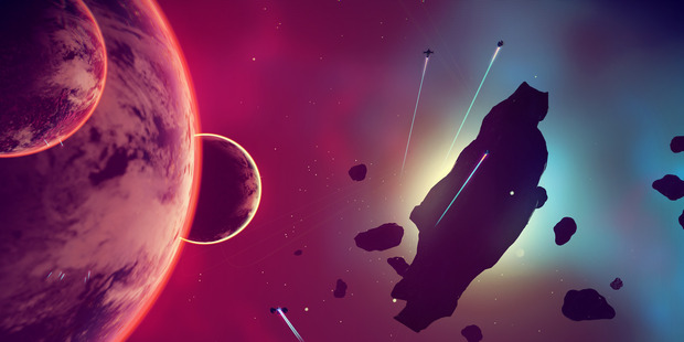 A scene from No Man's Sky, a new Playstation 4 game.