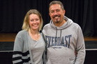 Kaitaia's Nina Griffiths and comedian Mike King at the community korero in July. Photo / Supplied