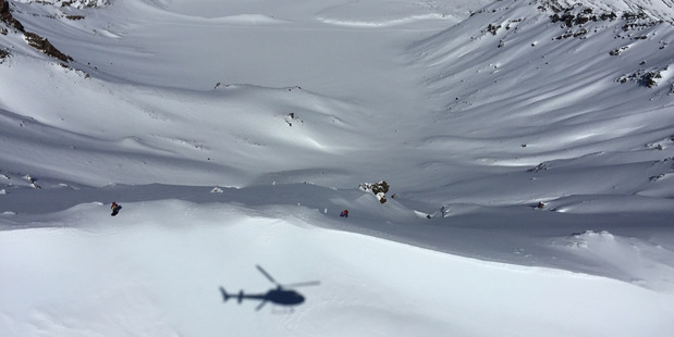 DANGER: The scene on Mt Tongariro yesterday where a woman was rescued.