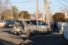 Van shunted into powere-pole in Masterton after being hit by a ute. Photo / Wairarapa Times Age