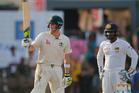 Australia's Steve Smith celebrates a rare half century for Australian batters during their current test series against Sri Lanka. Photo / AP