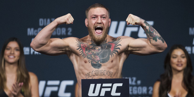 Conor McGregor and Nate Diaz are in hot water after their UFC press conference exploded ahead of tomorrow's fight. Photo / AP