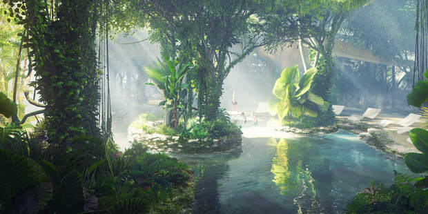 The man-made rainforest - in the middle of a desert city - will have a pool and an artificial beach for guests. Photo / Plompmozes