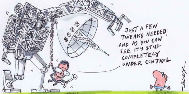 Prime Minister John Key repeatedly gave assurances in 2013 that the GCSB would not target Kiwis. Illustration / Audrey Young