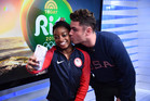 Simone Biles and Zac Efron pose for a selfie. Photo / Twitter