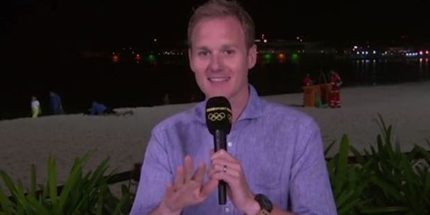 Presenter Dan Walker couldn't help but smile as he presented a round-up of the day's Olympic action. Photo / via BBC