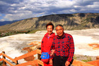 Chen Aiwu, 64, and her husband, Wang Dongsheng, 66, at Yellowstone National Park in June. Photo / Supplied