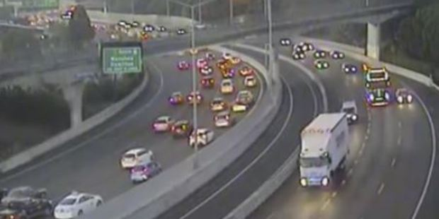 Loading Traffic is heavy after a crash blocks part of Auckland's busy central motorway heading to the Port. Photo / NZTA