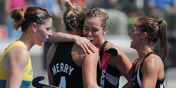Players from New Zealand celebrate after scoring against Australia during a women's field hockey quarter final match. Photo / AP