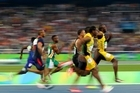 Usain Bolt became the first person to win three straight Olympic 100-meter titles, blowing down the straightaway in 9.81 seconds for his seventh overall Olympic gold.