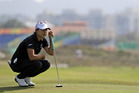 Lydia Ko of New Zealand, waits to hit on the 18th hole during the second round of the women's golf event. Photo / AP