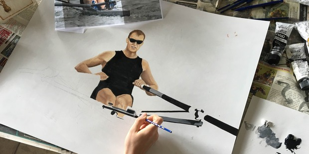 Delaney O'Hara starting on her portrait of Mahe Drysdale. Photo / supplied
