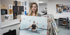 Delaney O'Hara with her portrait of rower Mahe Drysdale. Photo / Supplied