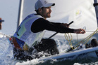 New Zealand's Sam Meech competes during the Laser men race. Photo / AP
