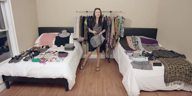 Rachel Grant manages to pack over 100 items into one carry-on bag. Photo / YouTube