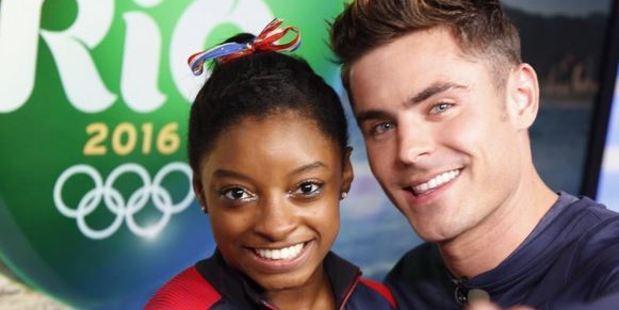 Loading Zac Efron meets Olympic gymnast Simone Biles. Photo / Instagram