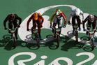 Kiwi cyclist Trent Jones, left, competes in the men's BMX semifinals. Photo / AP
