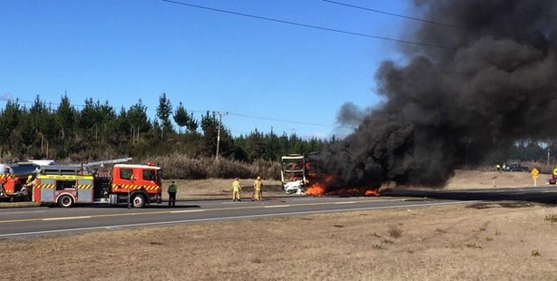 Loading The scene of the truck fire south of Taupo.  Photo/Supplied.