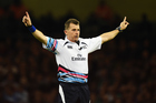 Referee Nigel Owens also received the award for most international matches officiated. Photo / Photosport