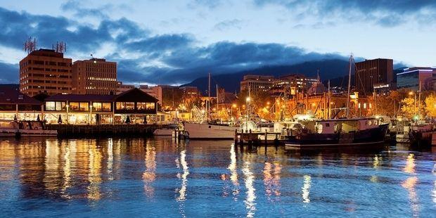 The Hobart waterfront lights up at night. Photo / 123RF