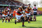 Waikato prop Loni Uhila runs in a try during Waikato's win over North Harbour. Photo / photosport.nz