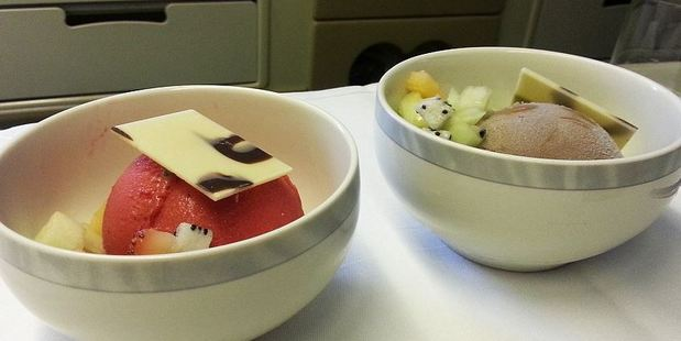 On another flight with Singapore Airlines, Loukas was delighted to find that the dessert was Haagen Daz - and you get a choice of flavours. Photo: Nik Loukas / inflightfeed.com