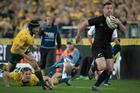 All Blacks 2nd-five Ryan Crotty on his way to scoring against Australia. Photo / Brett Phibbs