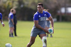 Seta Tamanivalu in action during the All Blacks training session at the Hutt Recreation Ground. Photo / Mark Mitchell