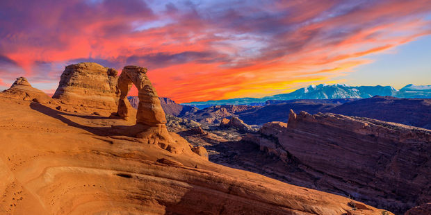 The sun sets at Arches National Park. Photo / 123RF
