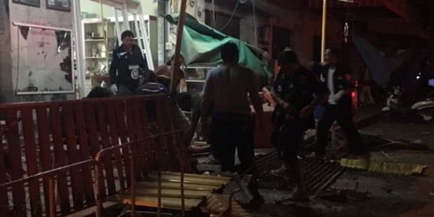 The explosion happened outside a hotel in the province of Pattani, an area popular with Western tourists in the country's south. Photo / Twitter