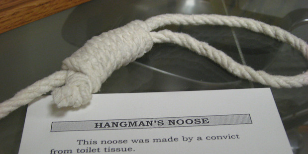 A noose made of toilet paper by an inmate on display at Folsom State Prison Museum in California. Photo / Helen Gordon, Flickr