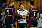 Elijah Taylor catches up with former teammates Manu Vatuvei and Shaun Johnson. Photo / photosport.nz