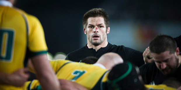 Richie McCaw in action against the Wallabies during the Bledisloe Cup test match at Eden Park in 2015. Photo/Greg Bowker