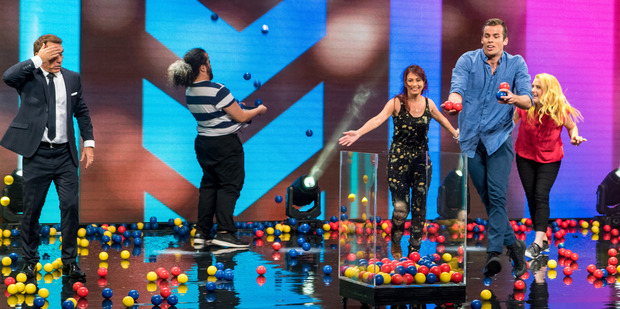 The contestants on You're Back in the Room have a ball with host Jason Gunn.