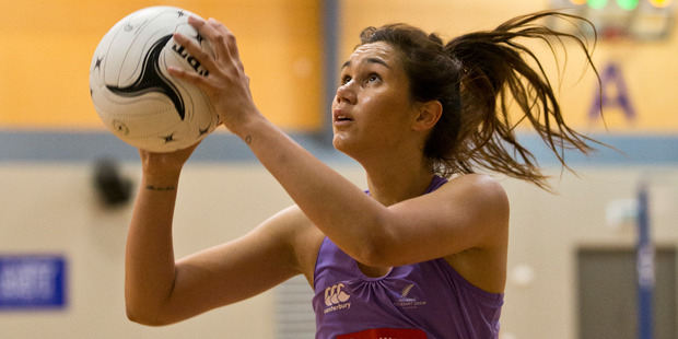 Ameliaranne Ekenasio is one of three rookie shooters in the Silver Ferns lineup for the upcoming quad series. Photo / Greg Bowker