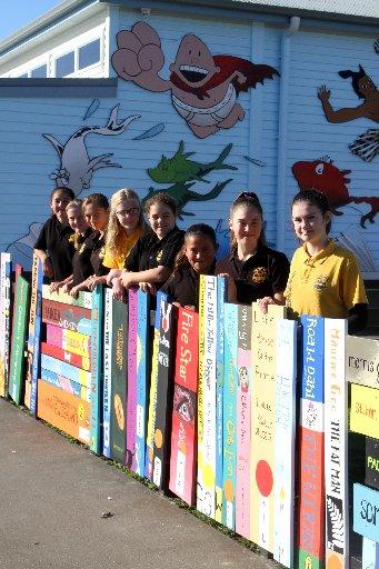 Library book fence at Ahipara School.