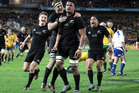 Jerome Kaino celebrates his try. Australia v New Zealand. Photo / Photosport.co.nz
