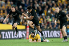 Julian Savea charges ahead in the 2016 Bledisloe Cup and Rugby Championship opener against Australia in Sydney last Saturday. Photo / Photosport