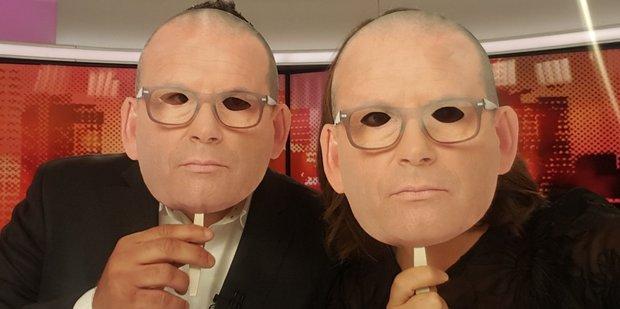 Loading Duncan Garner and Heather du Plessis-Allan wore Paul Henry masks on Story last night. Photo/Twitter
