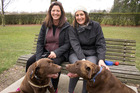 Marietjie Sandford and Terry Hope with their chocolate labradors Sherlock and Berlin. Photo / Christchurch Star