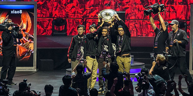 Members from Newbee, winners of The International DOTA 2 Championships. Photo / Getty Images