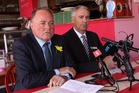 PACKAGE: The MP for Tukituki Craig Foss and the Mayor of Hastings Lawrence Yule at a press conference today to announce a recovery package for Havelock North Businesses. PHOTO/DUNCAN BROWN.
