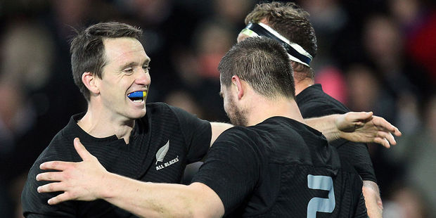 The All Blacks celebrate a try. Photo / Getty