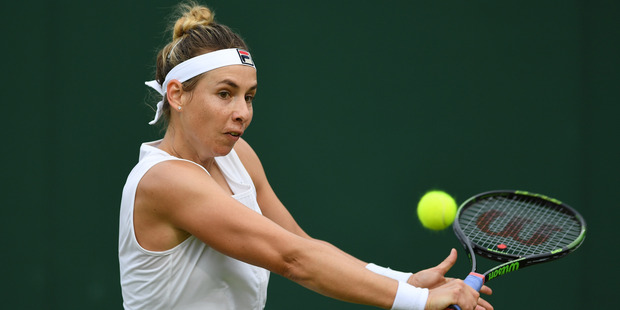 Marina Erakovic plays a backhand shot during Wimbledon. Photo / Getty Images