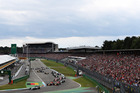 Lewis Hamilton leads into the first corner at the German Grand Prix. Photo / Getty Images