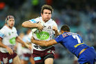 Jamie Lyon of the Eagles runs the ball during the round 23 NRL match between the Canterbury Bulldogs and the Manly Sea Eagles. Photo / Getty Images
