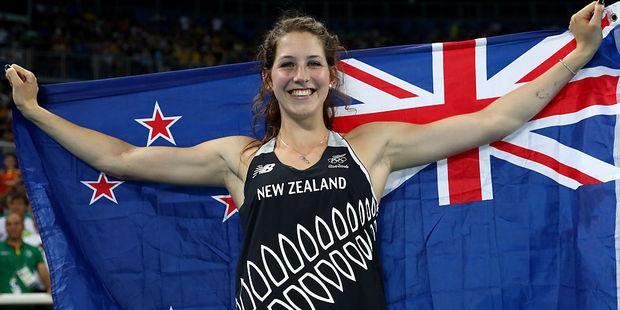 Eliza Mccartney of New Zealand celebrates winning bronze. Photo / Getty